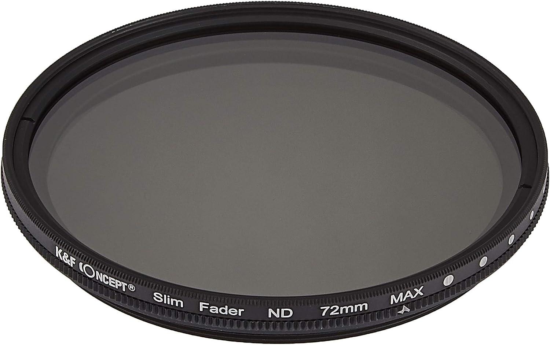 K/&F CONCEPT Filtro ND Variable Ultrafino de 72 mm ND2 a ND400 Compatible con Canon 7D 60D 70D 500D Compatible con Nikon D7000 D600 D300 D800 D7100 Compatible con Sony A77 NEX 5