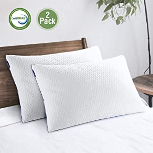 viewstar Pillows for Sleeping Shredded Memory Foam Pillows Queen Size Set of 2, Adjustable Bed Pillows for Neck Pain, Side Back and Stomach Sleeper Pillows with Hypoallergenic Cooling Bamboo Cover