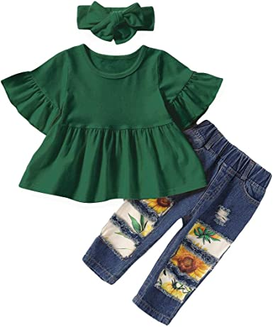 Toddler Baby Girl Boutique Ruffle Pants Flower Outfit