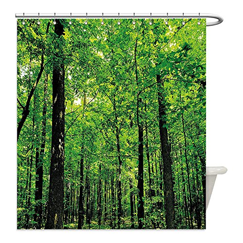 Fern Costume Ideas (Liguo88 Custom Waterproof Bathroom Shower Curtain Polyester Nature Woodland Tree Forest Jungle in Sunny Day Mother Earth Environment Picture Fern Green Seal Brown Decorative bathroom)