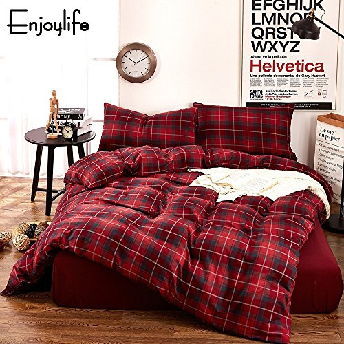 Enjoylife Elegant Reversible Bedding Set Printed Plaid 100% COTTON and FLANNEL 3 Pieces Duvet Cover Geometric Pattern Grid Gingham Quilt Cover for Kids/Teens/Adults (Red, Full/Queen) (Four Seasons Quilt Shop)