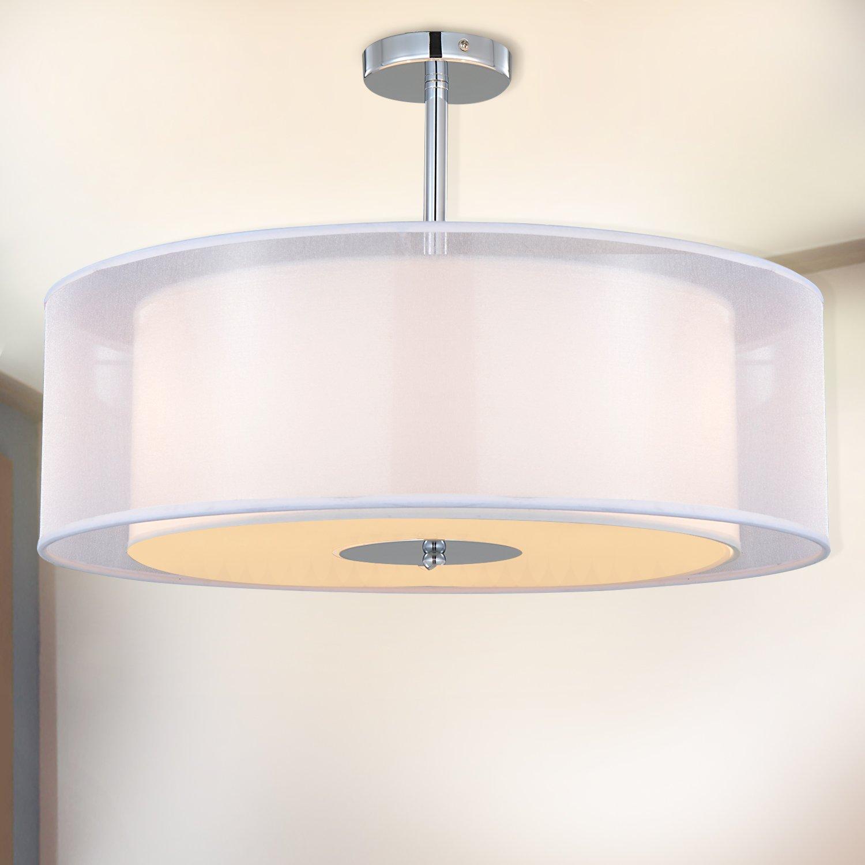 Ceiling Light, SPAKRSOR Modern Fabric Pendant Light Shade, Large Black Drum Lampshade, 2 Tiers Round Pendant Lamp, for Bedroom Living Room, Flush Chrome Matt, 3 bulb, E27 [Energy Class A++] ChuangSheng