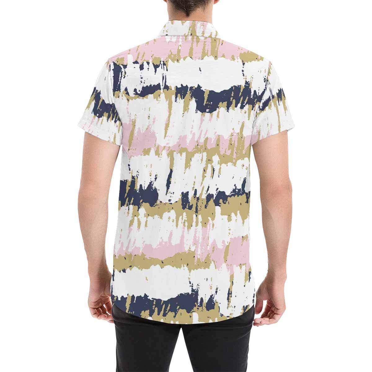 InterestPrint Colorful Striped Shirt Short Sleeve Print Button Down Shirt for Men