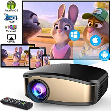 Wireless WiFi Video Projector DIWUER Full HD 1080P Projector Portable Mini Projectors Support Airplay Mira-cast Wireless Display for Home Theater Game Movie