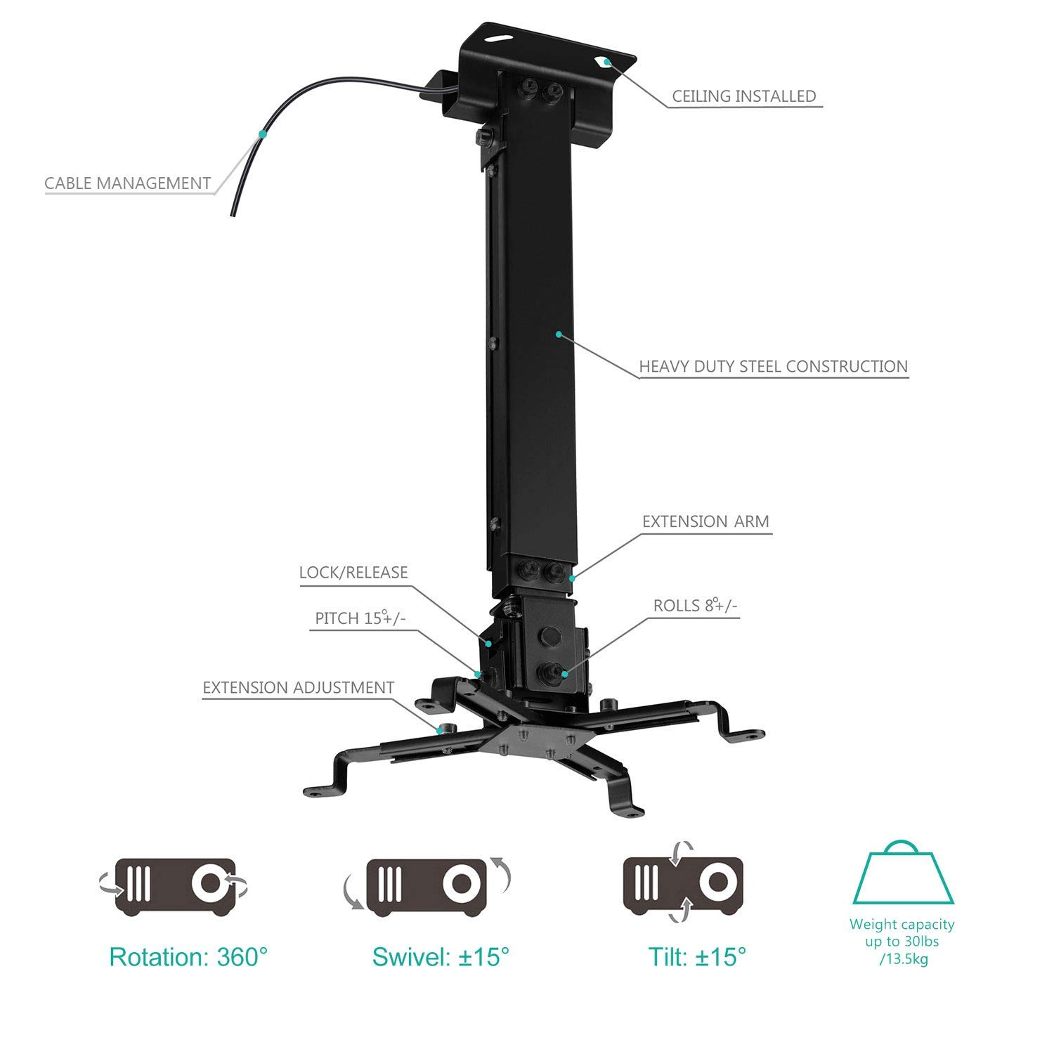 Amazon.com: Universal Projector Ceiling Mount Multiple Adjustment ...