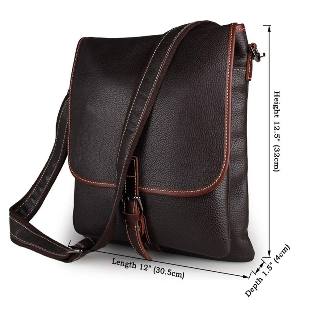 Amyannie Laptop Messenger Bag Men's and Women's Leather Postman Shoulder Bag Can Hold IPad Tablet Bag Briefcase Laptop Messenger Bag (Color : Brown) by Amyannie (Image #2)