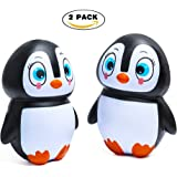 Kyson 2PCS Cute Soft Jumbo Squishy Slow Rising Toy PenguinKawaiiEmoji Toy for Kids,Adults,Relieving Stress&Anxiety,Cabinet Decor