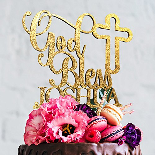 Unique Cake - God Bless and Cross Christening Baptism Personalized Unique Custom Birthday Cake Topper with Customizable Name and Color (CT-3)