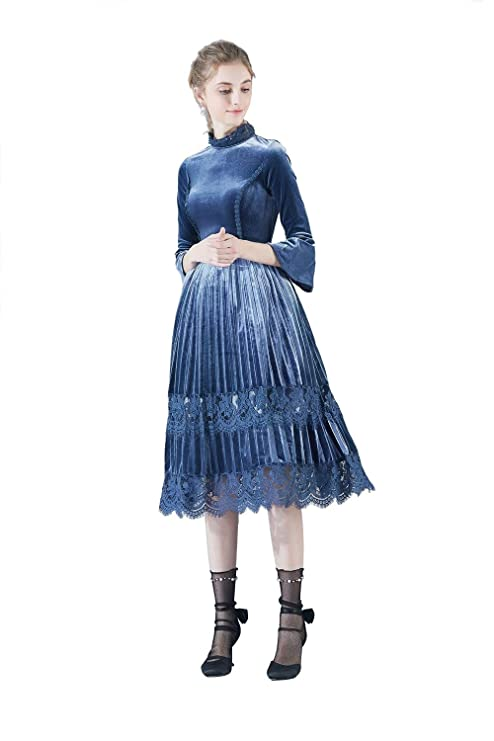 JUJIANFU-Vestido Elegante Vestido de Terciopelo Vintage Falda ...