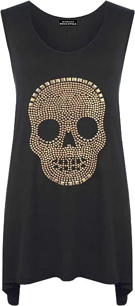 Sleeveless Skull Studded Hanky Hem Long Vest Shirt Top Womens Top Plus Size