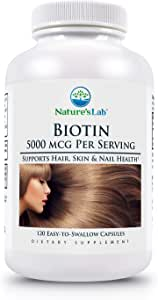 Biotin - 5000mcg - 120 Capsules (4 Month Supply) Promotes Healthy Hair Skin & Nails