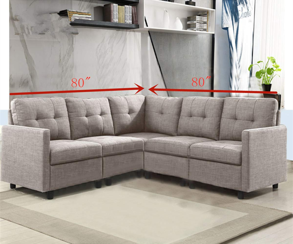 Amazon.com: OuchTek 5-Piece Modular Sectional Sofas, Small Space ...