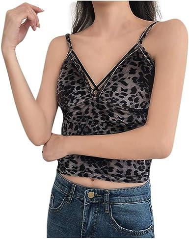 Luckycat Chaleco de Deporte Sexy de Espalda Abierta Camisa Mujer Terciopelo Estampado De Leopardo Chaleco de Tiras Sin Mangas Blusa Camisetas con Sujetador Incorporado Casuales: Amazon.es: Ropa y accesorios