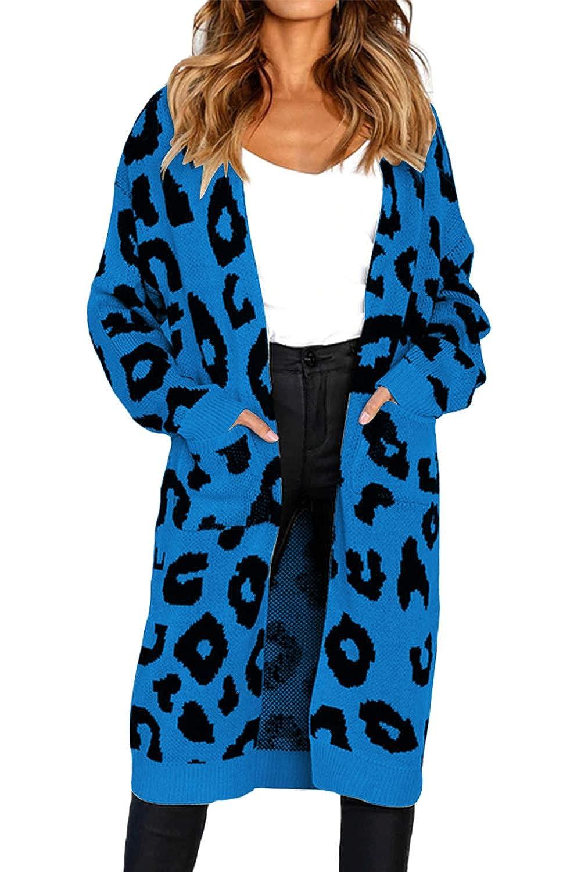 Assivia Women Long Sleeve Open Front Leopard Knit Long Cardigan Sweaters Coat Outwear