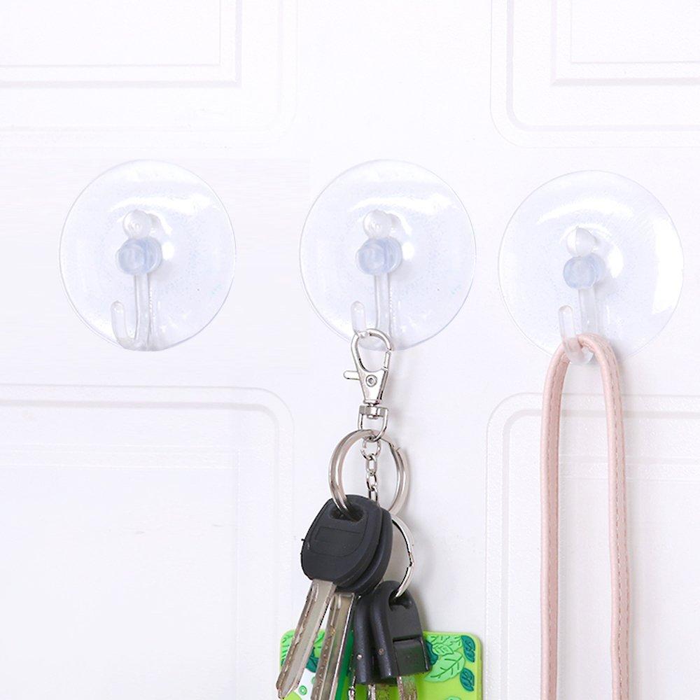 TRIXES 20 Ventosas con Gancho de Plástico - Transparente - Ganchos de Succión para Ventanas y Superficies Lisas