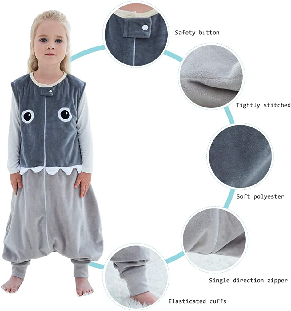 MICHLEY Baby Animal Sleep Bag with Feet Unisex Autumn Winter Warm Sleeveless Sleepsuit for 1-5 Years Old
