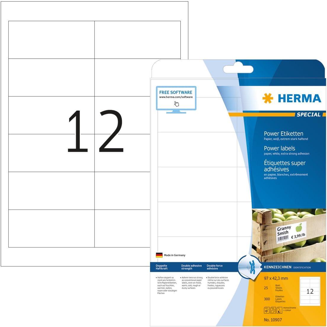 97 x 42,3 mm HERMA Etichette Impermeabili Etichette Adesive A4 per Stampante 12 Etichette per Foglio Bianche