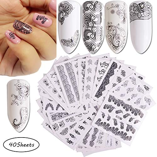 Nail Decals for Women Nails Beauty 40 Sheets Nail Tattoo Stickers Self-adhesive Water Transfer Black Flower Lace Butterfly Nail Art Stickers for Manicure Decorations of Fingernails and Toenails ()