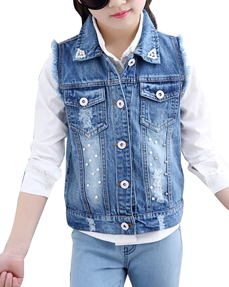 GladiolusA Girls Vintage Retro Ripped Demin Jeans Gilets Sleeveless Denim Jacket Vest Waistcoat Top Vest