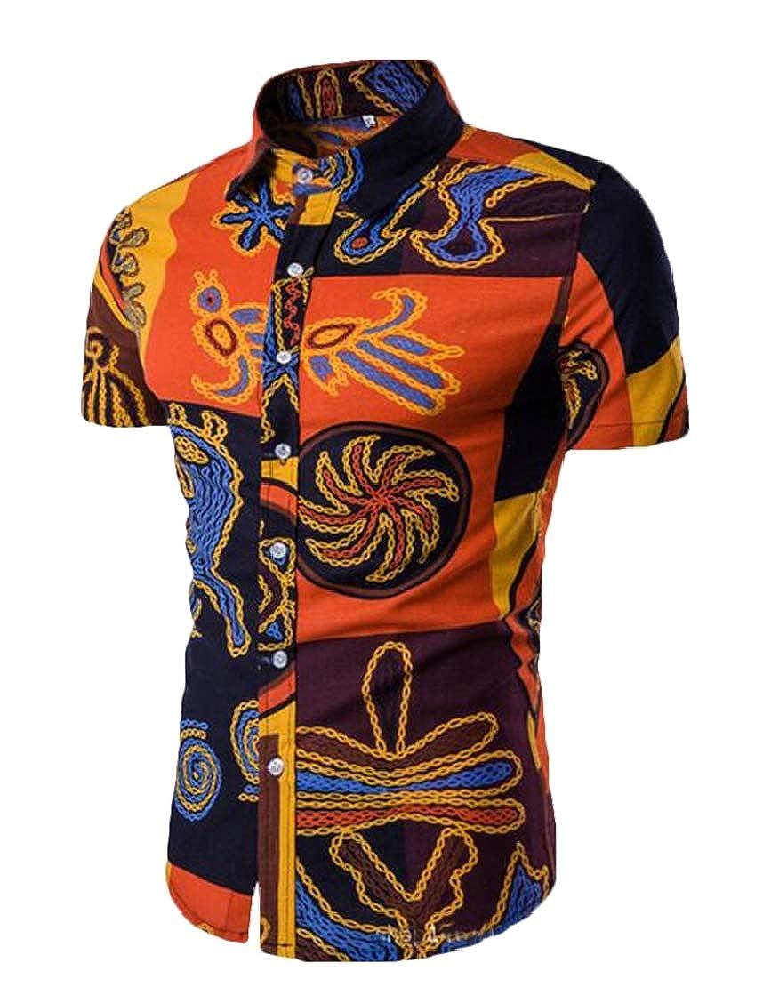 Twcx Mens Ethnic Print Short Sleeve Casual Button Down Shirts