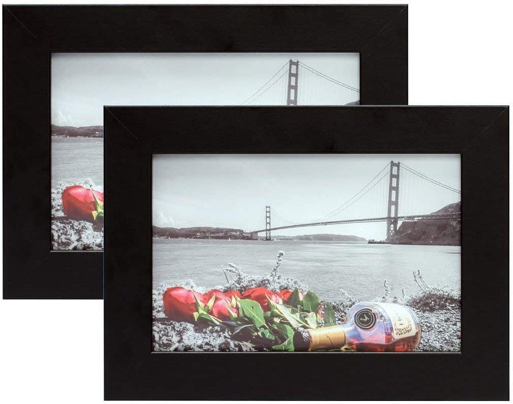 Frametory Made to Display Pictures 4x6 Photo 4x6 Set of 2 4 by 6 Inch Set of 2 White Picture Frame Wide Molding Preinstalled Wall Mounting Hardware , White