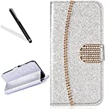 Wallet Case for Huawei P20 Pro,Bling Glitter Folio Case for Huawei P20 Pro,Leecase Luxury Noble Sparkle Shining Gold Chain Design Cover for Huawei P20 Pro