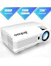 """1080P Projector, Jinhoo Upgraded 4500 Lumens Video Projector 200"""" HD LCD Home Cinema Projector Support 1080P HDMI VGA AV USB MicroSD for Home Entertainment, Party and Games"""