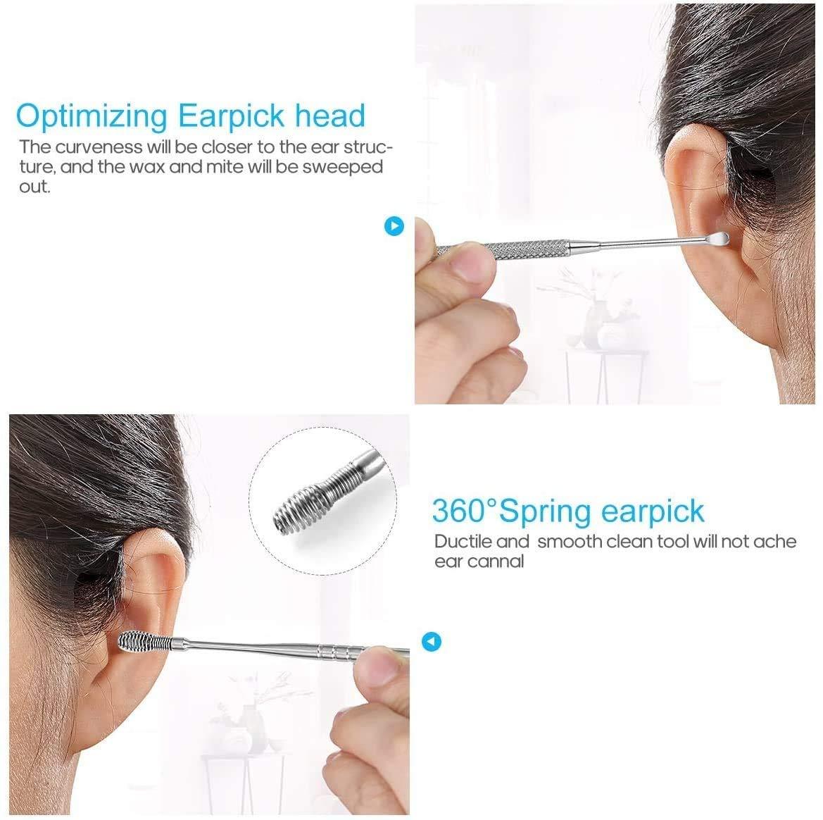 Ohrenreiniger Ohrenschmalz entferner 7 in1 Medizinischer Ohrreiniger aus Edelstahl mit Aufbewahrungskiste Ear Cleaner Ear Picks