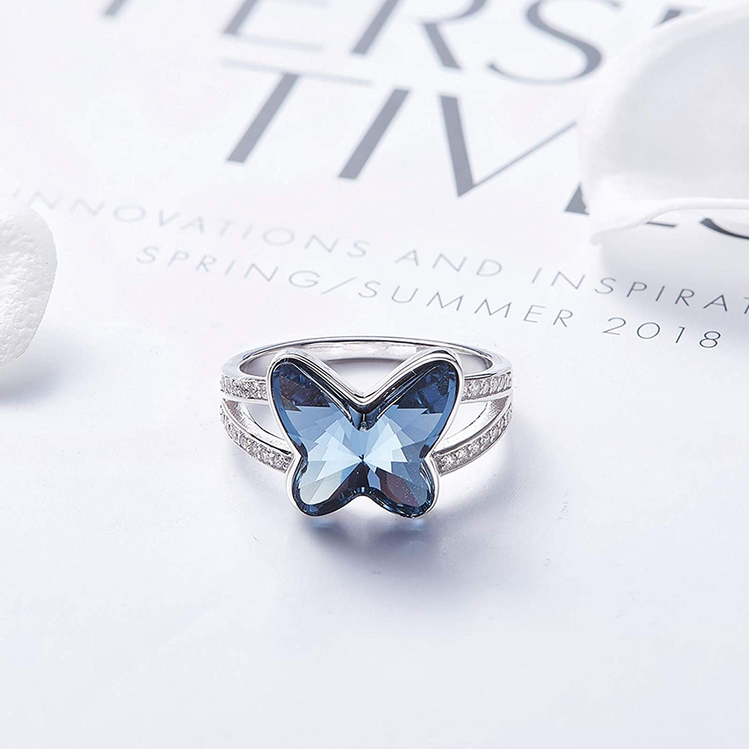 MoAndy 925 Sterling Silver Ring S.W.A Crystal Butterfly Eternity Engagement Wedding Band Ring