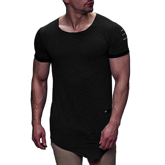 Cebbay Camiseta para Hombre Agujero Roto Cuello Redondo sin ...