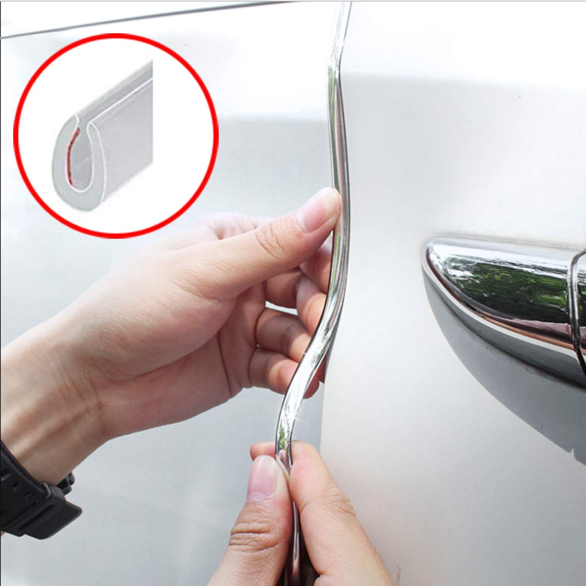 Door Edge Guard, Car door edge Protected Lining , U-edge trimming rubber seal protector car protection door side Molding Seal Protector,Suitable for most cars, no glue required((16Ft ) red) no glue required((16Ft ) red) HengJia