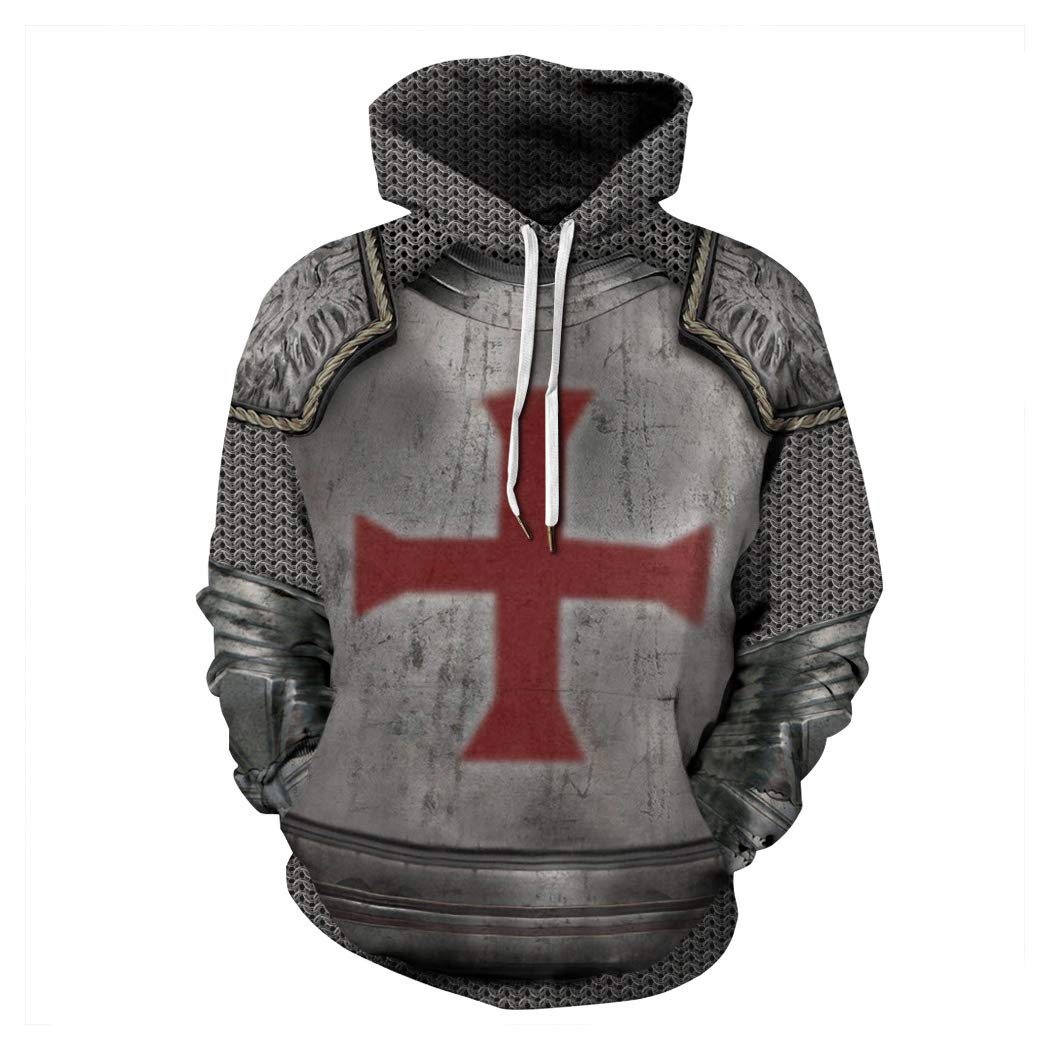 Unisex Couple Hoodie Long Sleeve Cross Pullover Hoodie Sweater Plus Size with Pocket