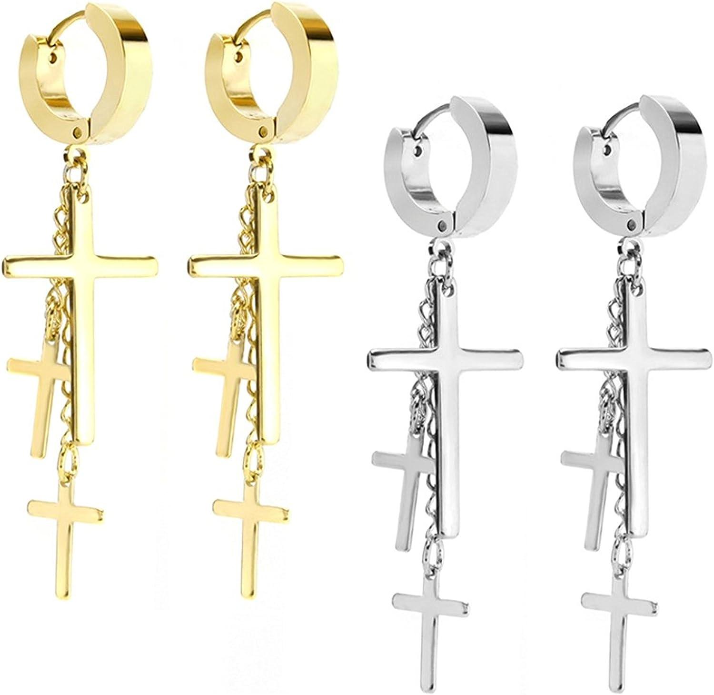 JewelrieShop Cross Tassel Stainless Steel Urban Huggie Hinged Hoop Dangle Earrings