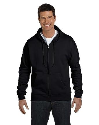 0096581f Hanes Men's Full-Zip EcoSmart Fleece Hoodie (Medium, 1 Black + Deep Royal