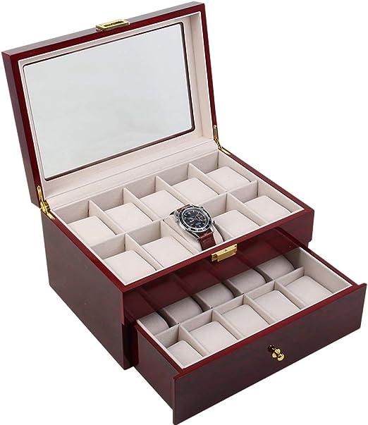 Caja de Relojes Estuche Caja de Relojes Valet de los Hombres Cofre de cajones Cofre de Relojes Grande Puede acomodar 20 Relojes Soporte de exhibición Cristal Superior Caja de joyería Reloj Pantalla: