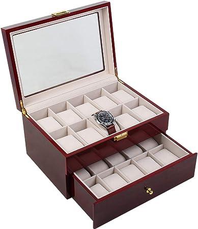 CMX-WATCH Caja de Reloj para Hombre con cajón, Caja Grande para 20 Relojes, Expositor de Cristal, joyero, Caja de Almacenamiento, Expositor de Reloj, Forro de Terciopelo: Amazon.es: Hogar