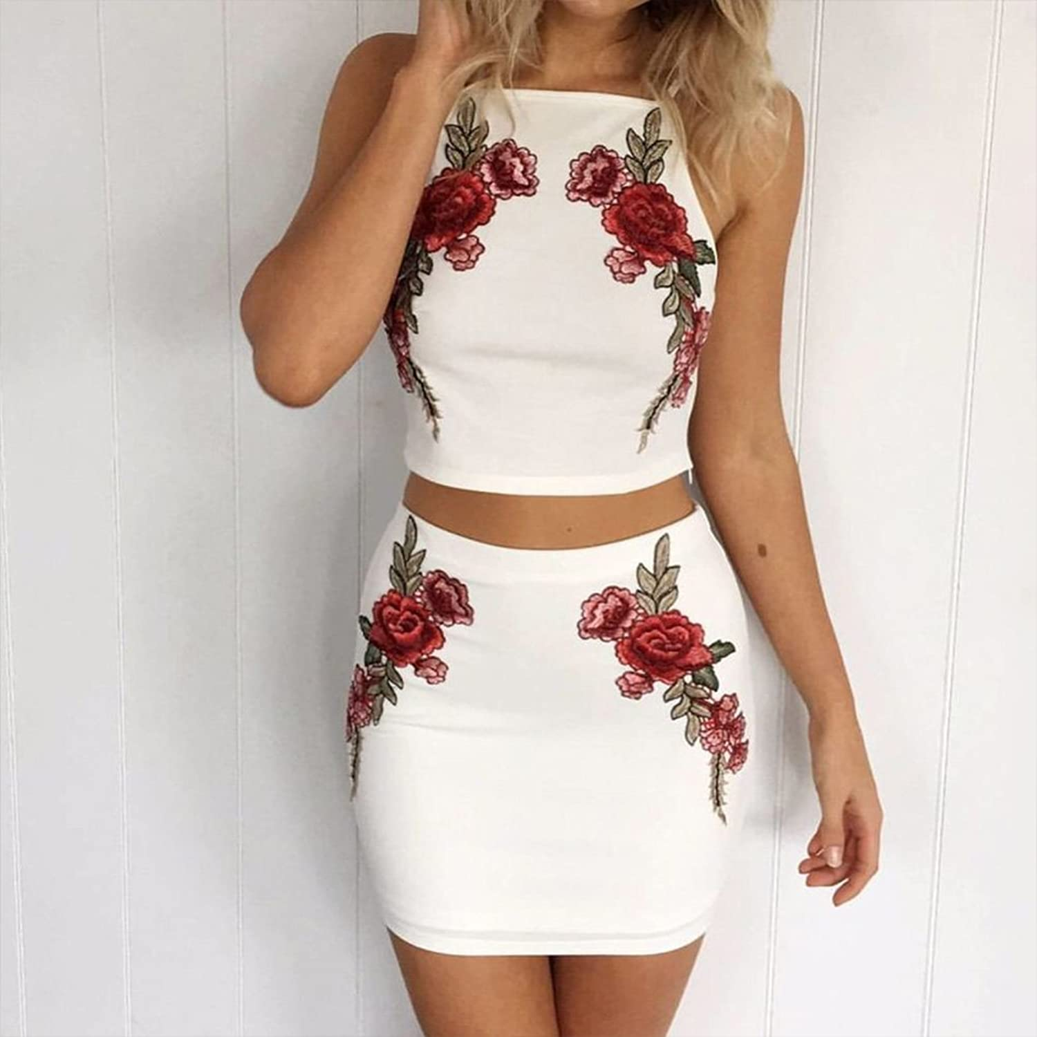 Amazon Chicfor Sexy Elegant Crop Top Two Piece Set White Floral