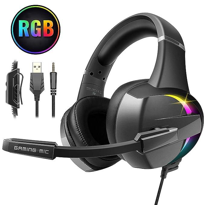 Beexcellent Auriculares Gaming, Cascos PS4 Estéreo Envolventes con Micrófono, Orejeras Cómodas & Iluminación RGB para Xbox One, Nintendo, Xbox One, PC...
