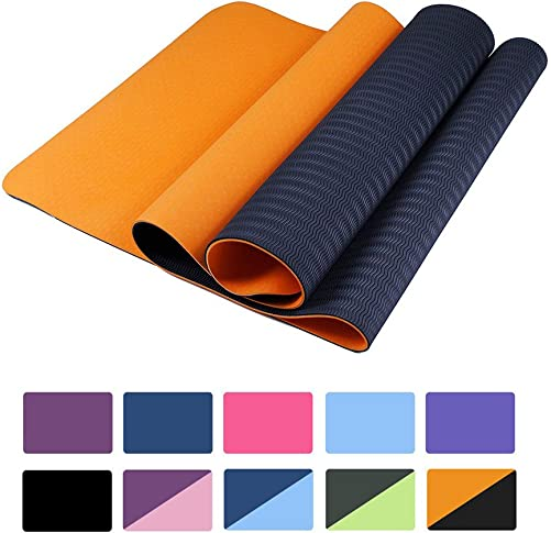 Yoga Mat Extra Thick Fitness Workout Mat Non-Slip Exercise Yoga Mat High Density Eco-Friendly TPE Pliates Mat with Carrying Strap 72 x 24 x 1 4
