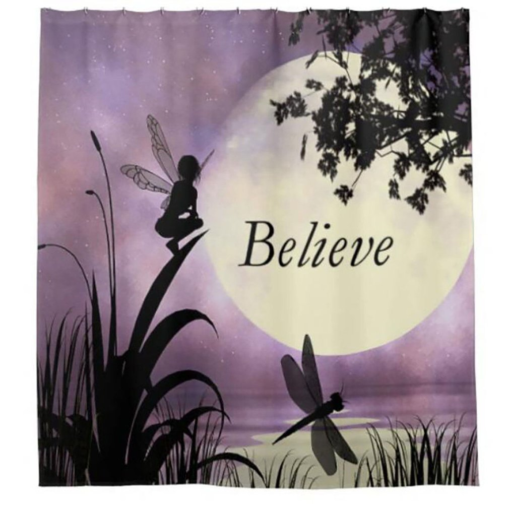 Purple and Black Colors Elf and Dragonfly at Lake Moon Light Stars Sky Theme Fabric Shower Curtain Morning-sunshine Nature Modern Artwork Decor Collection Morning sunshine ESCD004 72Wx72H
