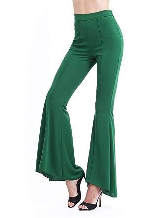 Femme Pantalon Large Printemps Automne Pantalon Flares Elégante Mode Chic  Uni Manche Casual Taille Haute Pantalon d7fa0043b9d