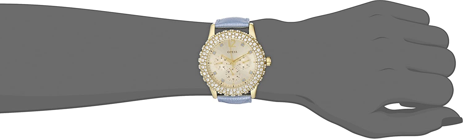 GUESS Women s U0336L6 Multi-Function Gold-Tone Blue Strap Watch