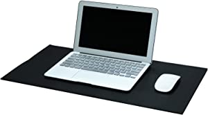 "OFFIDIX Office Desk Mat,Desktop PU Leather Desk Pad Non-Slip Leather Protective Desk Pad Laptop Mat Gaming Writing Mat for Laptop PC Keyboard Office Home Kids Desk Mat(Black, 24""x12"")"