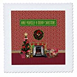 3dRose Beverly Turner Christmas Design - Christmas Room, Fireplace, Tree, Toys, Have Yourself a Merry Christmas - 14x14 inch quilt square (qs_267908_5)
