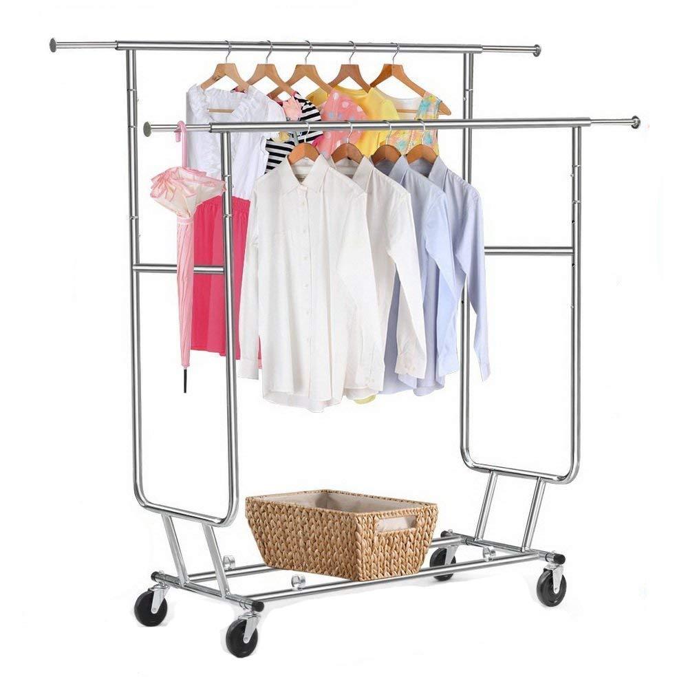 CHYIR Heavy Duty Steel Double-bar Garment Rack Hanger Silver