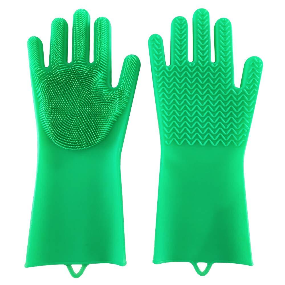Wishfull マジック食器洗い用スクラバーグローブ - フロントにスクラブブラシが付いた多目的シリコン手袋1組 - 裏面には丈夫なブラシのようなクリーニング用溝があり、頑固な汚れにも 6.1W x 13.6L グリーン B07KWJYLR7 グリーン