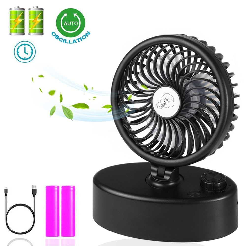 Table Oscillating Fan & Desk Fan with Double Battery Operated, Super Quiet, Adjustable Speeds Rechargeable, Powered by USB or Rechargeable Battery, Perfect Small Personal Fan for Table & Outdoor by Socool fan