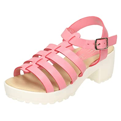 01ebbc2b1f HeelzSoHigh Kids Girls Childrens Pink Strappy Sandals Summer Holiday Retro Shoes  Sizes 10-2: Amazon.co.uk: Shoes & Bags