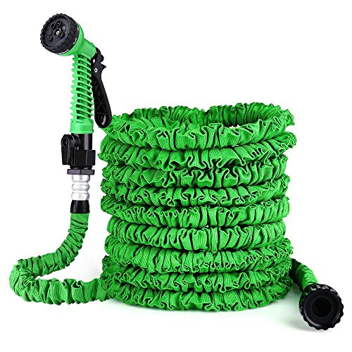Lyhope Garden Hose, 50ft Expandable Watering Hose - Double Latex Core - Extra Strength Fabric Protection - 7 Functions Spray Nozzle (Green)