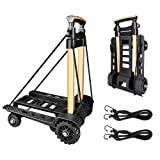 Folding Hand Truck Portable Trolley Dolly Compact Utility Cart with 70Kg/155Lbs Heavy Duty 4 Wheels Solid Construction Adjustable Handle for Moving Travel Shopping Office Use (BY04) (Color: By04)